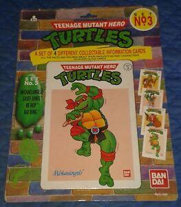 1990 *** SET OF 4 INFO CARDS SET #3 MOC *** TEENAGE MUTANT NINJA TURTLES TMNT