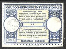 IRC INTERNATIONAL REPLY COUPON GREAT BRITAIN 9d TYPE B7 1957