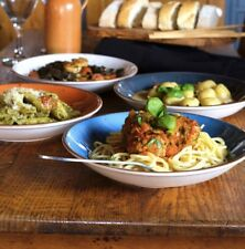 Set of 4 Blue & Orange Spaghetti Pasta Salad Serving Bowls Dishes Plates 23.5cm
