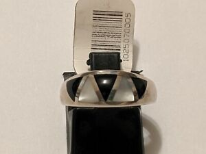 KABANA STERLING SILVER SIZE 5 1/2 WHITE MOP JET RING SIGNED HALLMARKED