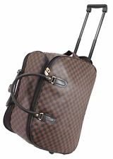 New Designer Cabin Approved Trolley Case Hand Luggage Holdall Suitcase Bag Brown
