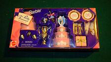 1996 BARBIE Pretty Treasures WEDDING SET cake plates gift flatware napkins NIB