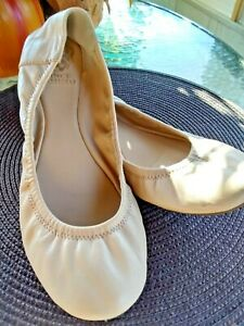 Vince Camuto Womens Ballet Flats Shoes Beige Leather Slip On Sz 9