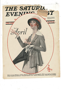 1919 SATURDAY EVENING POST JC LEYENDECKER COVER ONLY APRIL SHOWERS LD101