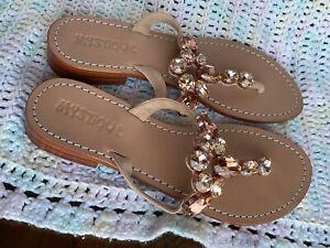 NEW MYSTIQUE Rose Gold Crystal Leather FLIP FLOPS SANDALS WOMEN'S 9 Shoes
