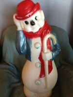 """DISCOUNTED VNTG 1980 CHRISTMAS EMPIRE 34"""" DERBY HAT SNOWMAN (BLUE) BLOW MOLD #2"""