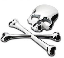 Car SUV Pickup Truck 3D 100%Metal Silver Skull Head Logo Modified Emblem-Sticker
