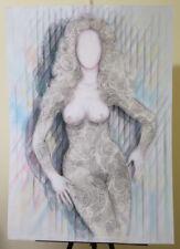 Peinture Original Moderne Pop Art Ans 80 Portrait Féminin Vintage P33.2