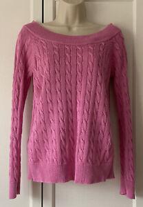 Lauren Ralph Lauren Ladies Pink Cable Knit Wide Neck Jumper Size Medium