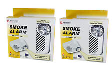 2 x Ei KiteMarked Smoke Detector Fire Alarm Ionisation Batteries Inc with Light