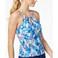 24TH & OCEAN piña PARTY PRINTED UNDERWIRE CUTOUT HIGH-NECK TANKINI TOP size M