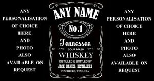FULLY Personalised Jack Daniels Whiskey Bottle Label Wedding Birthday Gift Xmas