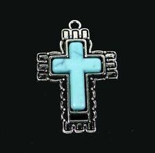 42x29mm Antique Silver Pewter Blue Turquoise Rhinestone Ornate Cross Pendant