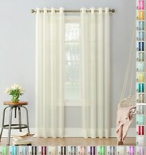 """A pair of high quality Voile Curtain ring Top solid sheer 56"""" wide with 8 rings"""