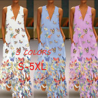 5Colors Woman Sleeveless Vest Maxi Dress Printed V Neck Long Dress S-5XL New