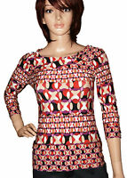 BNWOT LADIES MULTI-COLOURED ABSTRACT PRINT 3/4 SLEEVE TOP BLOUSE SIZE 8-20