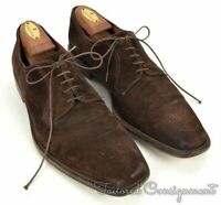 A TESTONI Solid Brown Suede Mens Blucher Oxford Derby Dress Shoes - 11.5