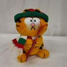 "Vintage 1981 Garfield Cat Winter Skiing Plush 9"""
