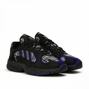 Adidas Mens Running Shoes Black Purple Plaid Suede Yung 1 Low Top Size 12  Shoes