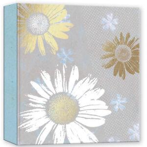 "Grey Floral Sunflower Design Slip In Memo Photo Album 5x7""104 Photos"