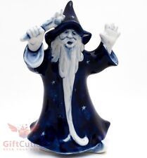 Gzhel Handpainted Porcelain Figurine of Wizard with the magic wand
