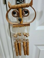 CUTE VINTAGE RETRO 1970s BAMBOO WOODEN OWL WALL HANGING / WIND CHIME BOHO CHIC