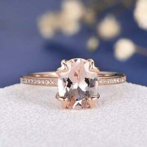 18K Rose Gold Over 3 Ct Oval Cut Morganite Solitaire Beautiful Engagement Ring