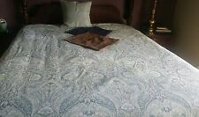 Pottery Barn Mackenna? Duvet Cover Blue King  Paisley EUC W/ 3 Pillow Covers