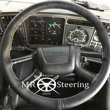 Se adapta a 1987+ Camión Scania 113 Cubierta del Volante Cuero Verdadero Blanco Doble Stich