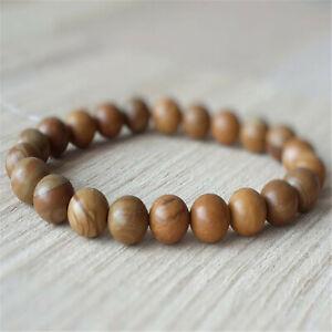 8mm Natural Wood Stone Gemstone Mala Bracelet Lucky Yoga Healing Meditation Ruyi