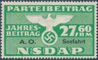 Stamp Germany Revenue Seefahrt WWII 1939 3rd Reich War Era Party Due 27.60 MNG