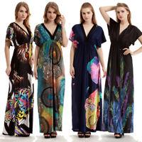 Womens Plus Size Flower Print Dress Long Maxi Sundress Boho Summer Evening Party