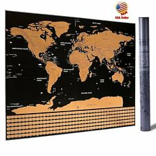 Scratch Off Map World Extra Large Size Wall Art Us States Country Flag 32''x23'&# 034;