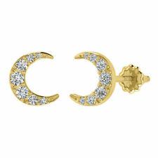 0.25 Ct Round Diamond Moon Shape Stud Earrings For Womens 14k Yellow Gold Finish