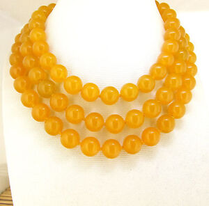 """Round10mm Yellow Jade Necklace Knotted Lariat Fashion Necklace Gemstone Bead 46"""""""