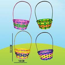 Pack of 2 Assorted Multi Coloured Easter Basket Oval Rainbow Egg Hunts Kids Gift