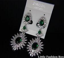 CZ Cubic Zirconia Cluster Flower Burst Drop Wedding Bridal Earring UK New