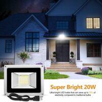20W LED Flood Light White Outdoor Spotlight Garden Yard Lamp 110V with US Plug