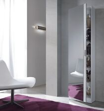 Zapatero moderno alto con espejo color Blanco Brillo, 180x50x20cm