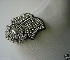EP76 Silver Diamante Beaded Dangle Epaulet Shoulder Applique Punk Rock Sew On