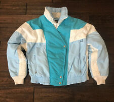Vintage First Down cropped ski jacket baby blue white and aqua womens size 8