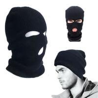 3 Hole Ski Mask Black Knit Hat Face Shield Beanie Cap Snow Winter Warm Warmer