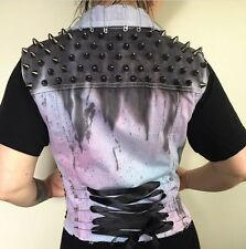Punk Pastel Goth Studded Hand Tie Dye Vest Spikes Corset Cut Off Handmade Rare