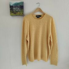 Women's Polo Ralph Lauren Jumper Yellow Cable Knit 100% Cashmere Sweater Size XL