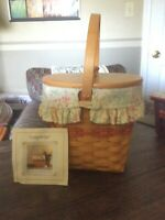 Longaberger 2001 Mothers Day Vintage Blossoms Basket Combo with Lid