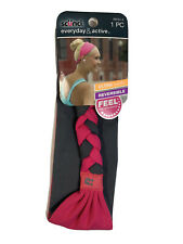 SCUNCI Everyday and Active Reversible Braid Back Stretch Headwrap. Pink/Gray