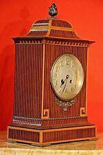 Big antique Regency English mantle clock gilt ormolu marquetry Chippendale 1900s