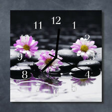 Glass Wall Clock Kitchen Clocks 30x30 cm silent Flowers Purple