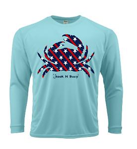 Hook N Buoy American Crab Youth Swim / Fish Shirt SPF 50 Sun Protection