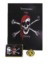 Pirate Jolly Roger Surrender the Booty Bike Motorcycle Hat Cap lapel Pin